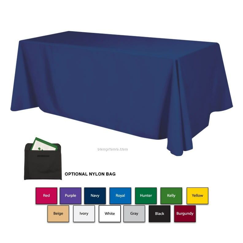 8' Polyester Table Cloth W/ 3 Side Coverage (Blank)