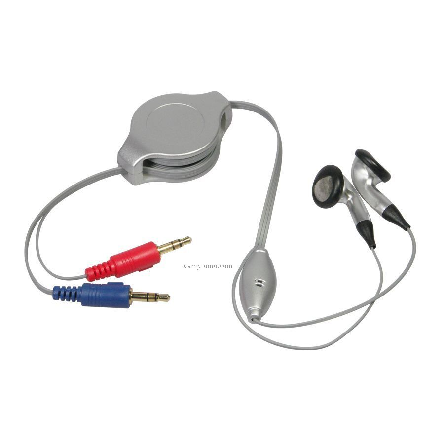Voip Retractable Earbuds W/ Microphone