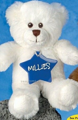 "10"" White Smitty Bear Stuffed Animal"