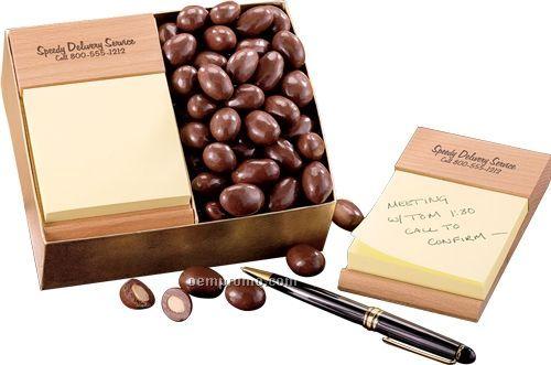 Beech Sticky note pad W/ Milk Chocolate Almonds