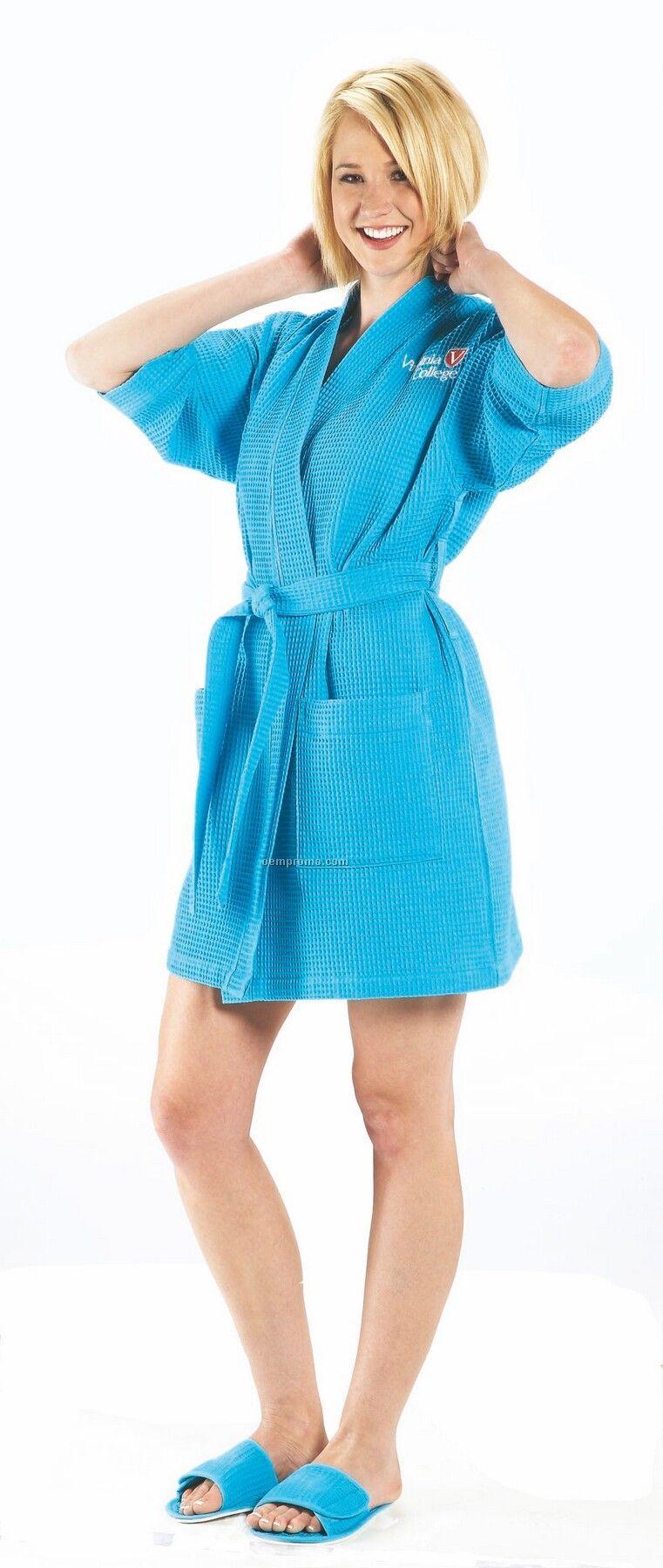 White Thigh Length Waffle Weave Kimono Robe (7 Oz.)