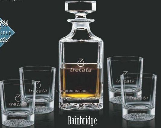 Bainbridge Decanter And 2 On The Rock Glasses