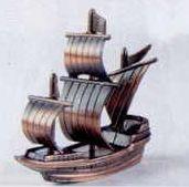 Early American Bronze Metal Pencil Sharpener - Sailing Ship
