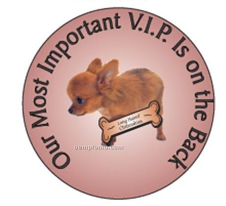 """Long Haired Chihuahua Dog Round Hand Mirror (2 1/2"""")"""