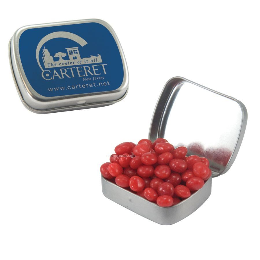 Small Silver Mint Tin Filled With Cinnamon Red Hots