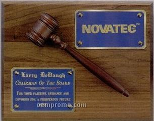 "Solid Walnut Gavel Plaque (8""X10"")"