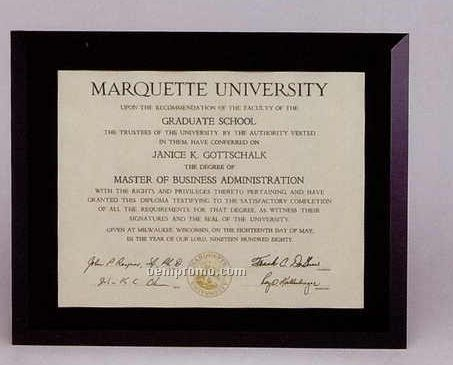 """Black Glass Certificate/Photo Frame Plaque (12""""X15"""" For 8-1/2""""X11"""" Photo)"""
