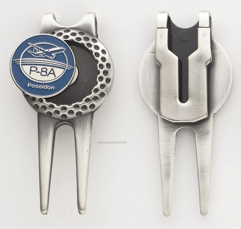 """Small Dimpled Divot Tool/ Money Clip With 1"""" Ball Marker"""