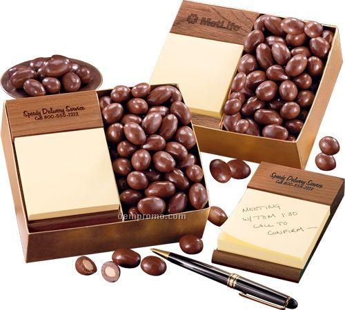 Walnut sticky memo pad W/ Milk Chocolate Almonds