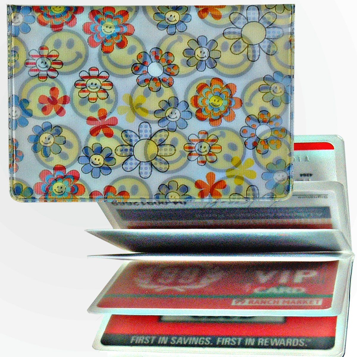 3d Lenticular Id / Credit Card Holder (Smiley Face Flowers)