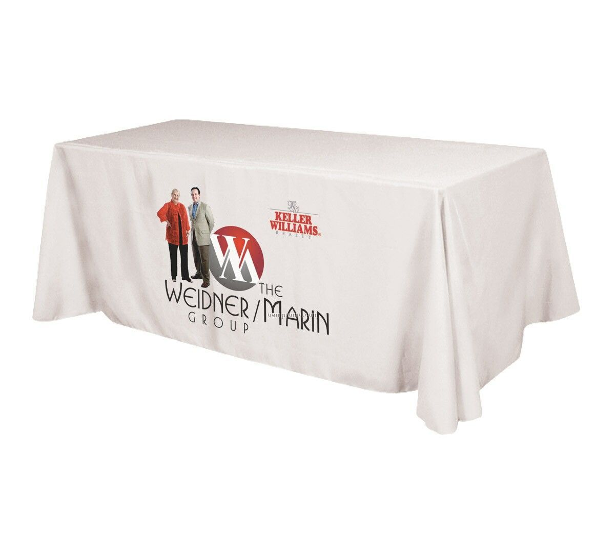 Polyester Table Cover On 3 Sides With Open Back And Dye Sub Imprint - 6'