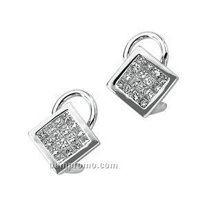 14kw 1 Ct Tw Invisible Set Square Earrings