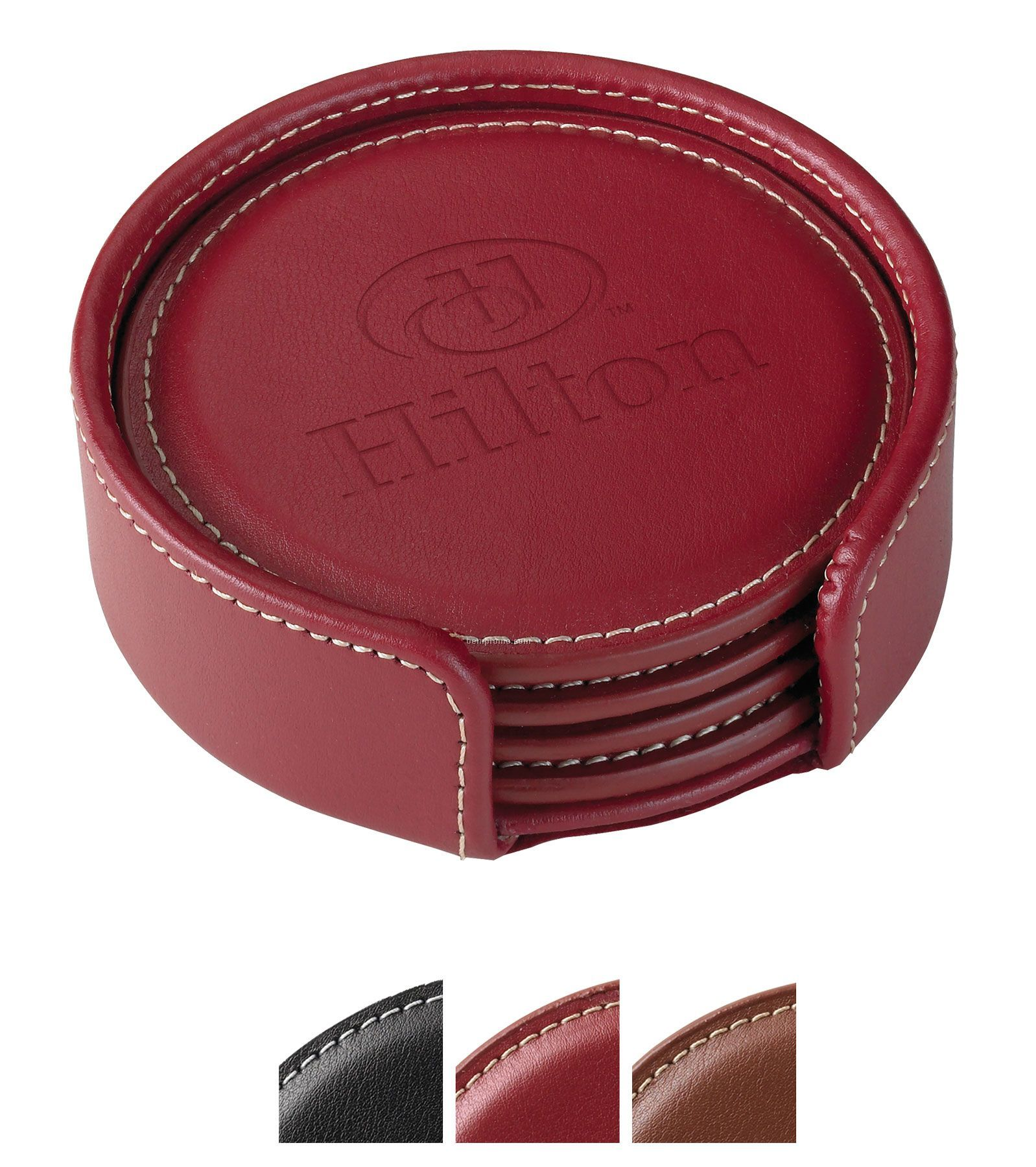 Accent Round Leather Coaster Set