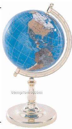 "Kassel 8-5/8"" Diameter Semi-precious Stone Pedestal Globe W/ Blue Oceans"