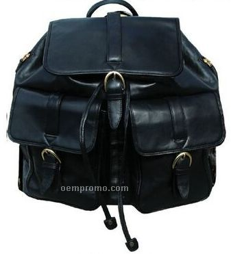 Black Veg Tanned Calf Leather Backpack