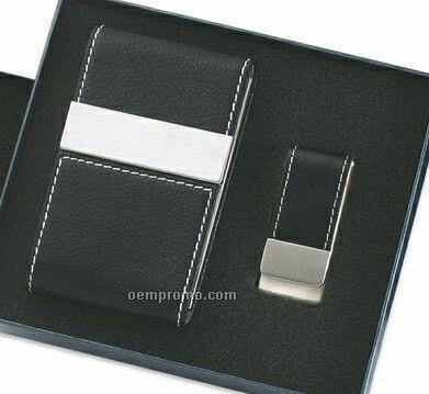Black Leatherette/ Metal Card Case With Double Magnetic Flap & Money Clip