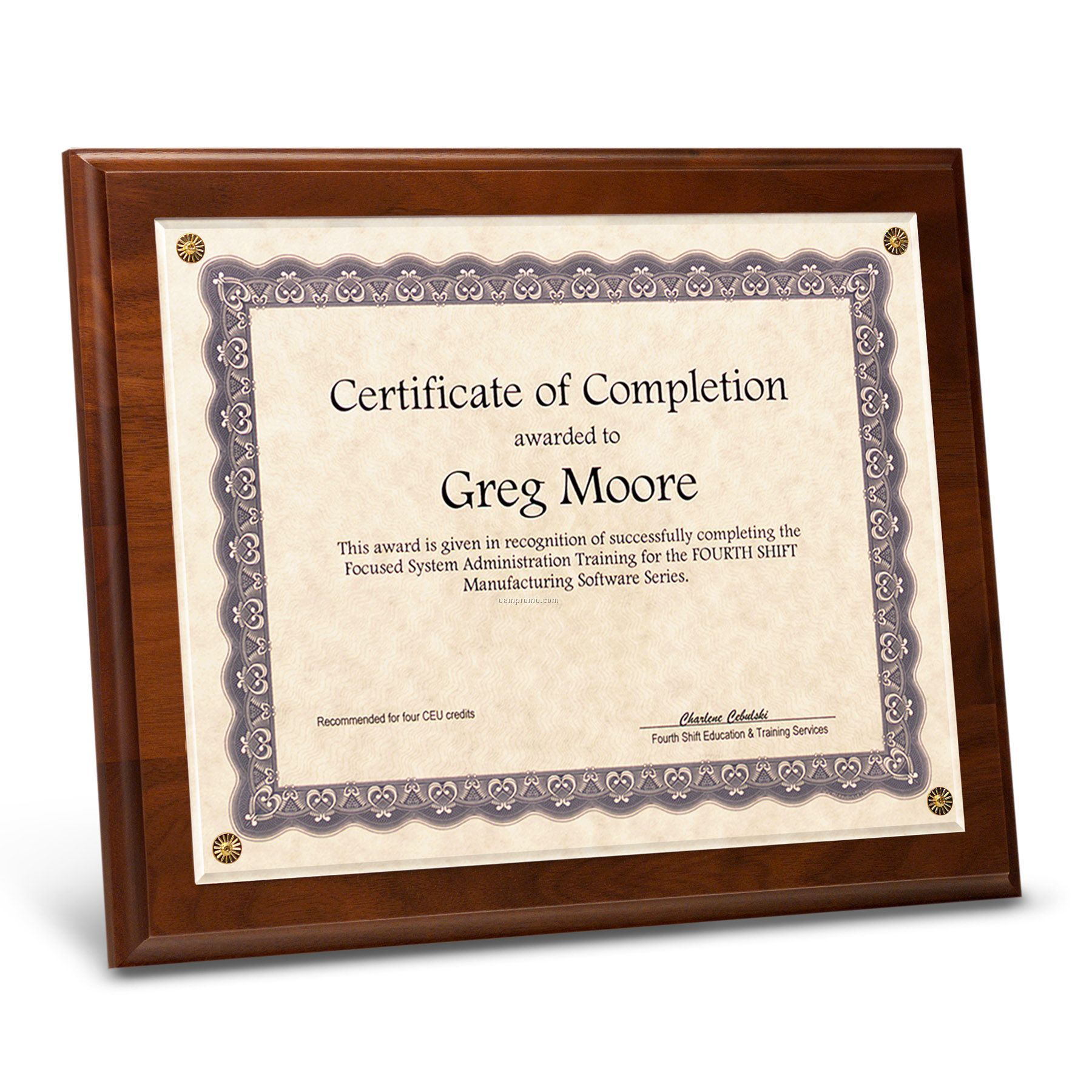 """Certificate Holder - Simulated Walnut With Rosettes (8"""" X 10"""")"""