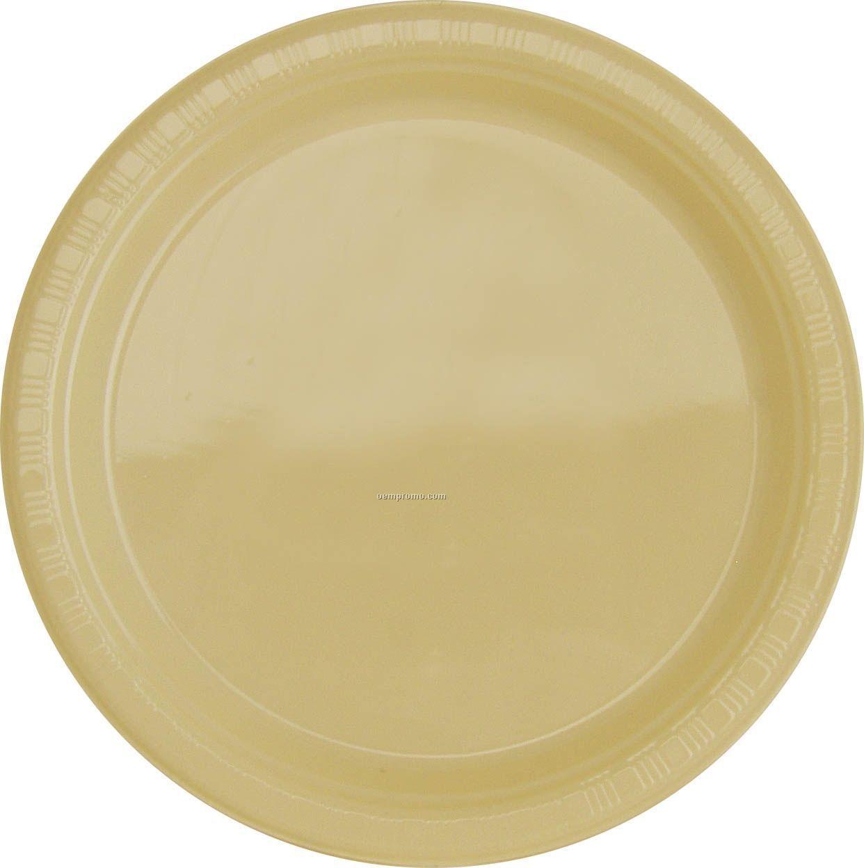 "Colorware 7"" Ivory White Plastic Plate"