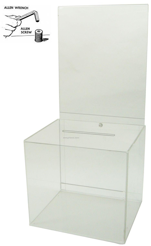 "Large Clear Ballot Box With Riser (8"" Deep)"