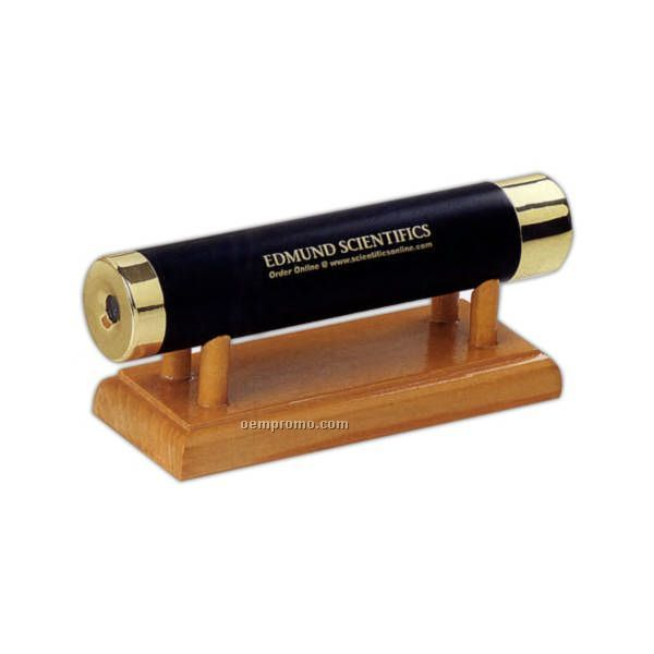 Brass Kaleidoscope With Wooden Stand