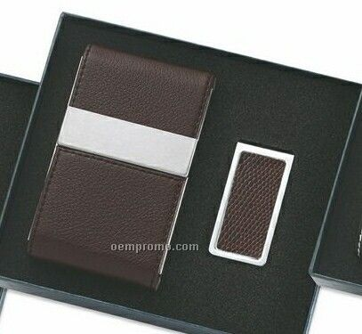 Brown Leatherette/ Metal Card Case With Double Magnetic Flap & Money Clip