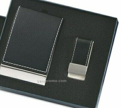 Black Leatherette & Metal Business Card Case With Money Clip