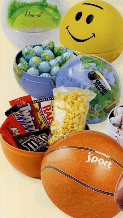 Chocolate Sport / Earth Balls In Mini Sport, Globe, Or Smiley Face Tin Bank