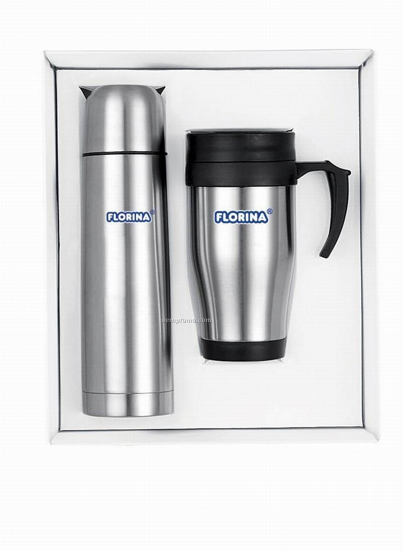 Stainless Steel 16 Oz. Mug And Thermos Gift Set