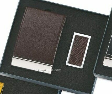Brown Leatherette & Metal Business Card Case With Money Clip