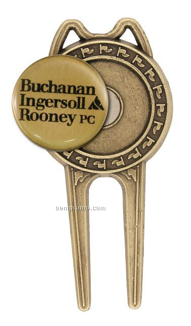 Die Cast Divot Tool With Ball Marker With Putter Cigar Rest - Screened