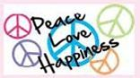 Peace/Love/Happiness In Stock Ink Transfers In Pink