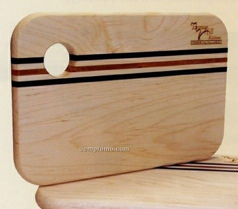 Wood Cutting Board W/ Cherry And Walnut Stripes