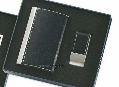 Black Rectangle Pu Leatherette Business Card Case With Money Clip