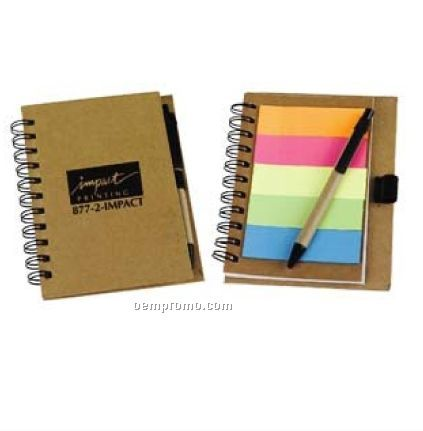 "4 1/2""X5 1/2"" Recycled Notebook W/ Sticky Tabs"