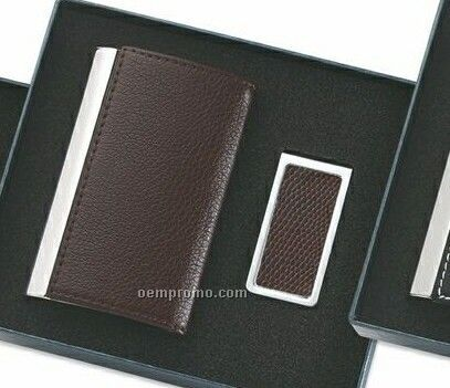 Brown Rectangle Pu Leatherette Business Card Case With Money Clip
