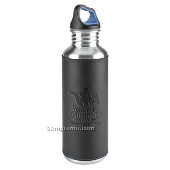 Callaway 25 Oz. Stainless Water Bottle W/ Leather Sleeve