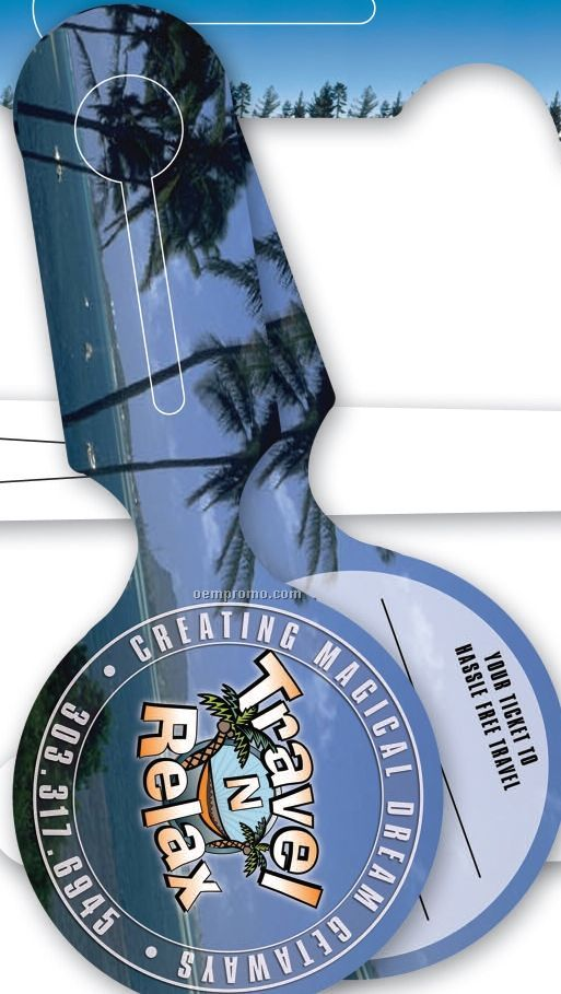 """Full-color All-in-one Round Teslin Luggage Tags (3.5"""" Diameter)3.5x8.25"""""""