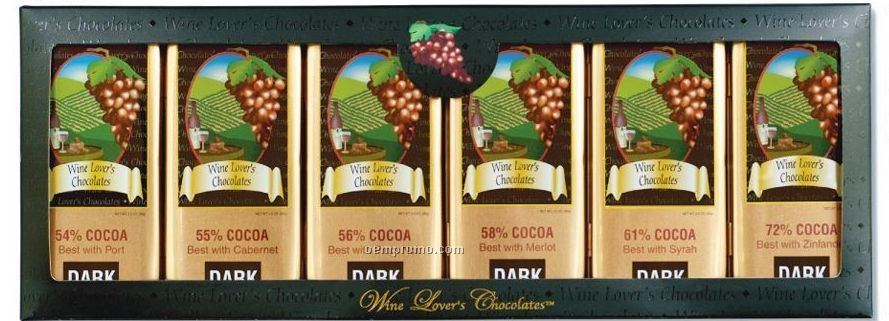 Six Tin Set Of Wine Lover's Collection Gourmet Chocolates