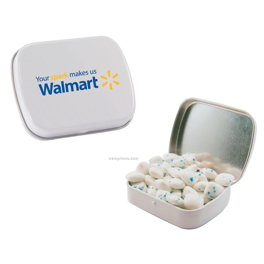 Small White Mint Tin Filled With Sugar Free Gum