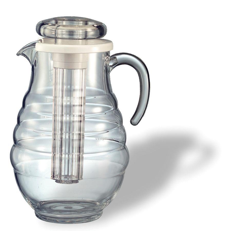 Acrylic Ribbed Body Ice Tube Pitcher (3 3/10 Liter)