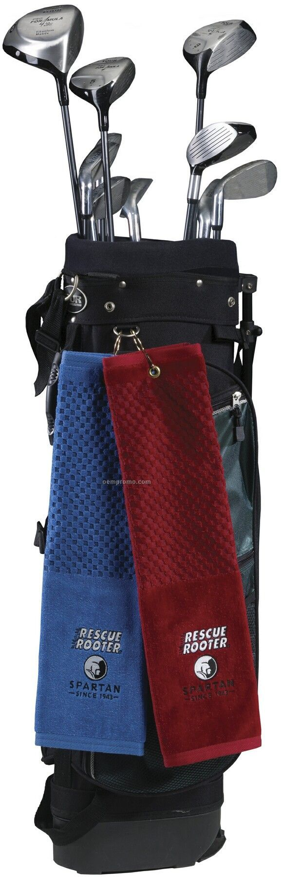 Checkered Terry Velour Jacquard Golf Towel W/Trifold Hook & Grommet