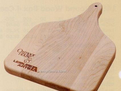 "Wood Cutting Board W/ Paddle Handle (12""X8""X3/4"")"