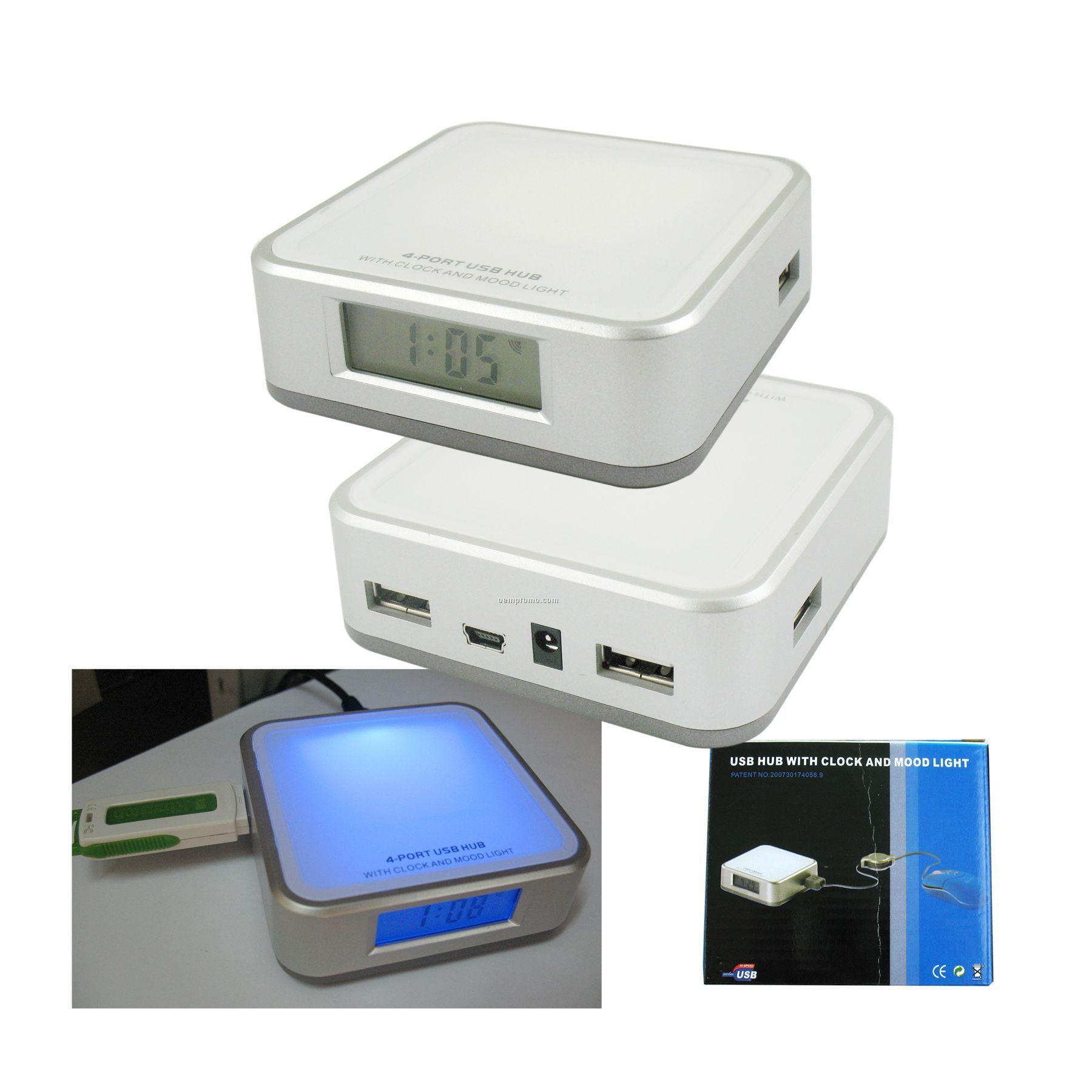 Clock 4 Port USB Hub