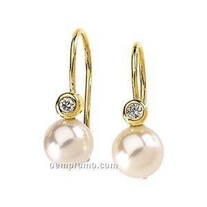 Ladies' 14ky 7mm Cultured Pearl & .06 Ct Tw Diamond Round Earring