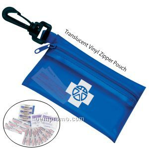On The Go First Aid Kit #2 W/ Translucent Vinyl Zipper Pouch