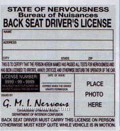 Back Seat Driver's License (3/Poly Bag)