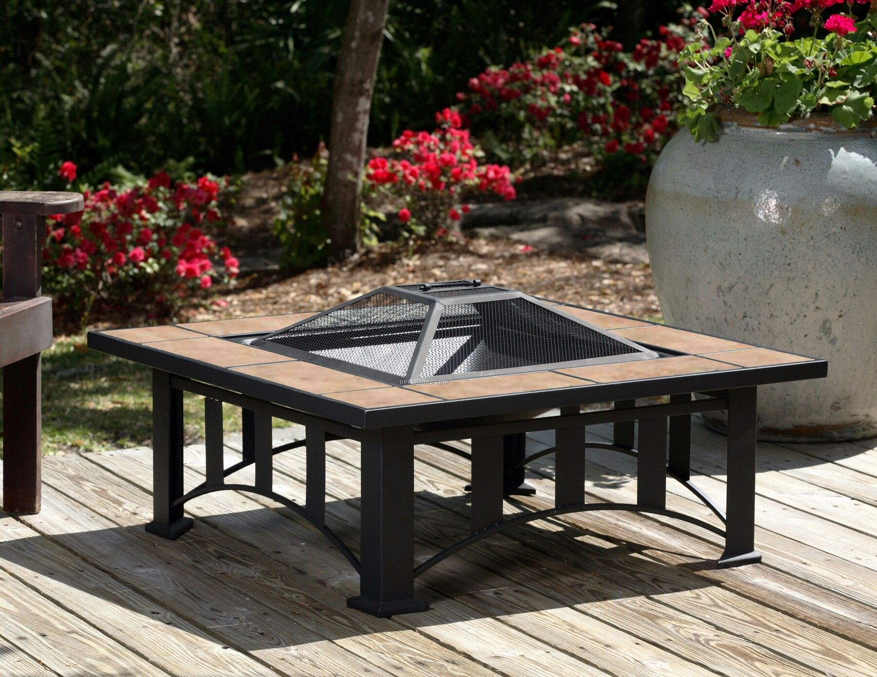 "Fire Sense 24"" Tuscan Tile Mission Style Square Fire Pit"