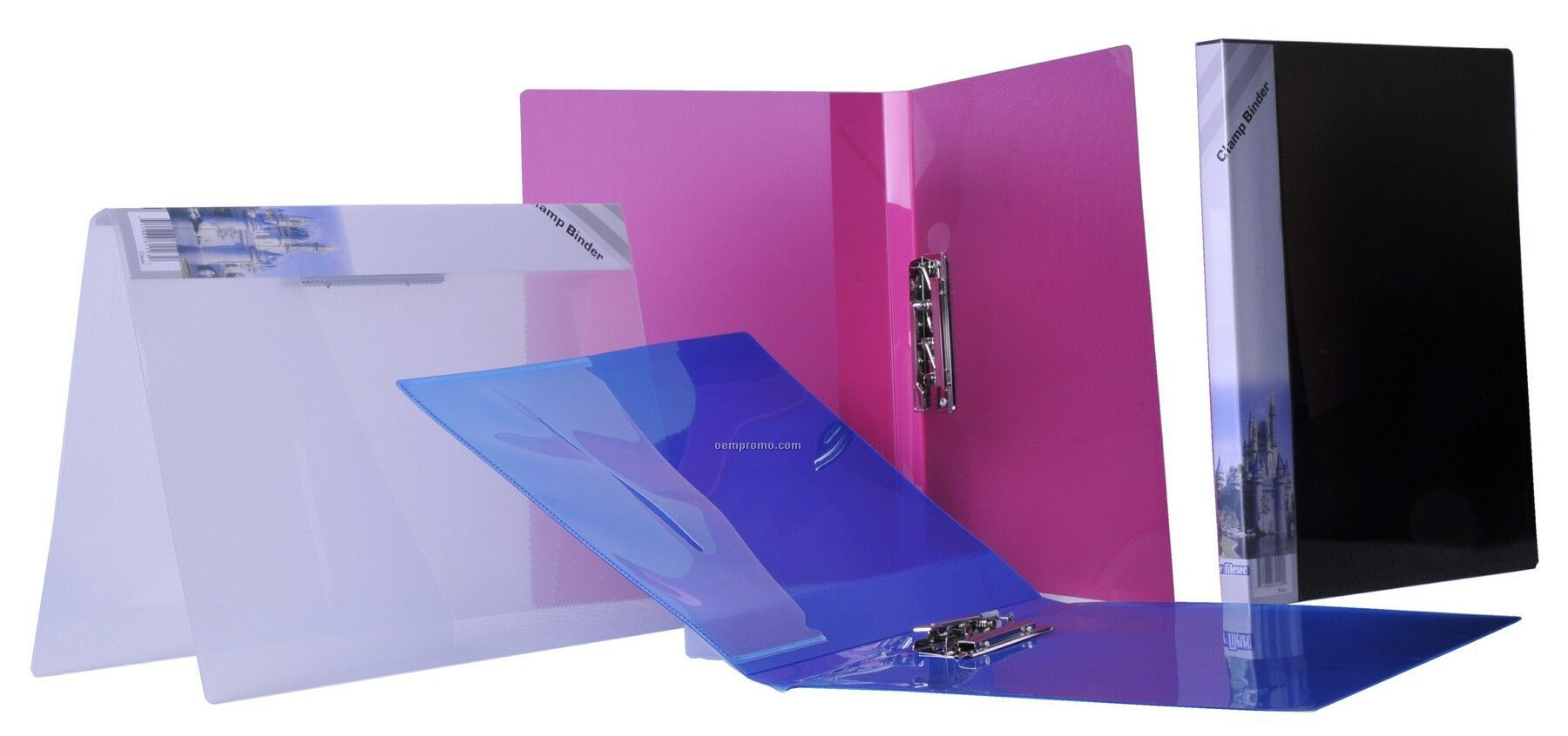 Clear Clamp Binder With Removable Spine Label