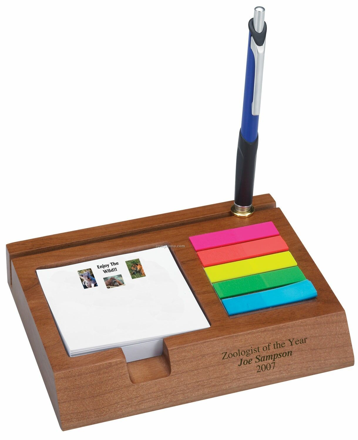 Club Level Wood Memo Pad Holder W/ Adhesive Notes & Flags