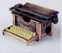 Early American Bronze Metal Pencil Sharpener - Typewriter